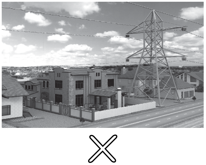 Transformer & Electric Cables With Tower, Over a House